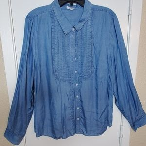Chambray Long-sleeve Button Up Blouse